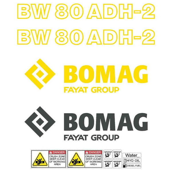 Bomag 80 ADH-2 Decal Sticker Set