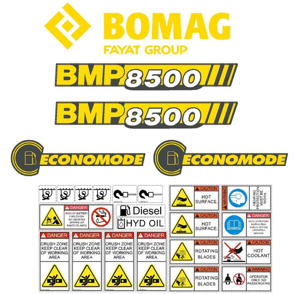 Bomag BMP8500 Decal Sticker Set