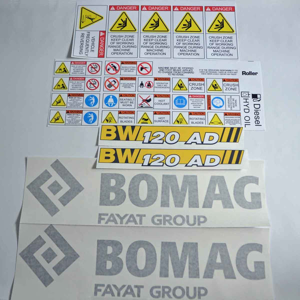 Bomag 120AD-5 Decal Sticker Set