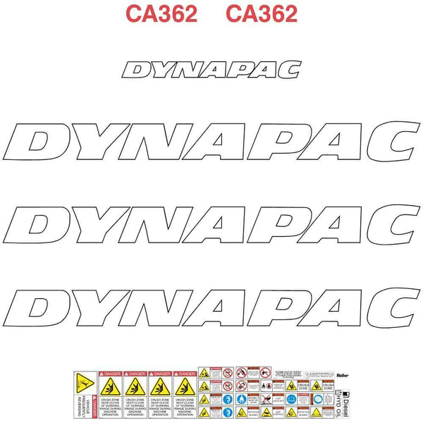 Dynapac CA362 Decal Sticker Set