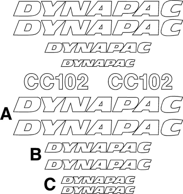 Dynapac CC102 Decals Stickers Set