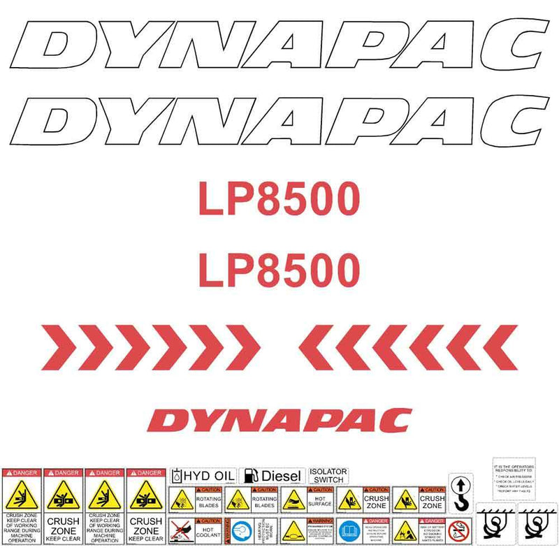Dynapac LP8500 Decal Sticker Set