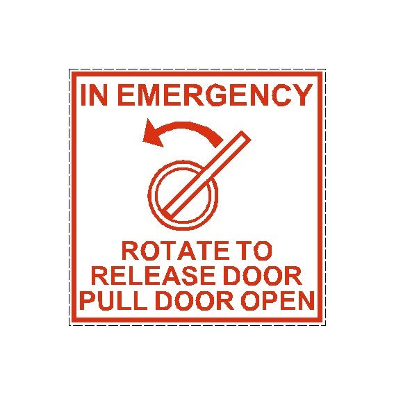 Emergency Rotate to open Door Safety Decal Sticker
