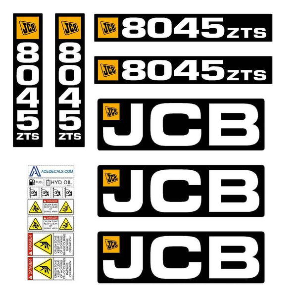 JCB 8045 ZTS Decals Stickers Set