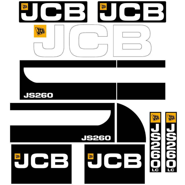 JCB JS260 Decals Stickers