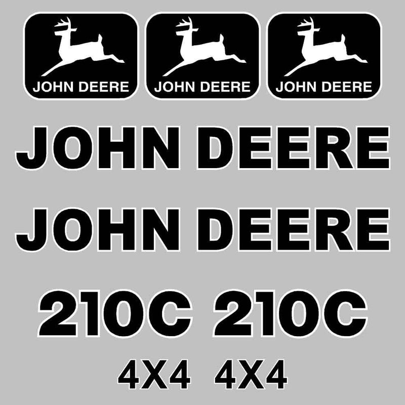 John Deere 210C Decal Sticker Set