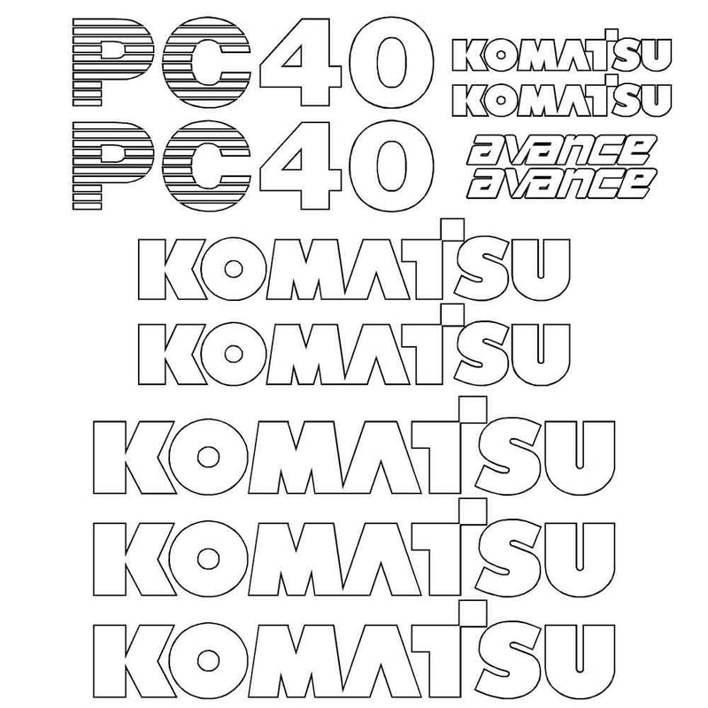 Komatsu PC40-7 Decal Sticker Set