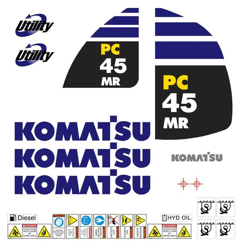 Komatsu PC45MR-2 Decal Sticker Set