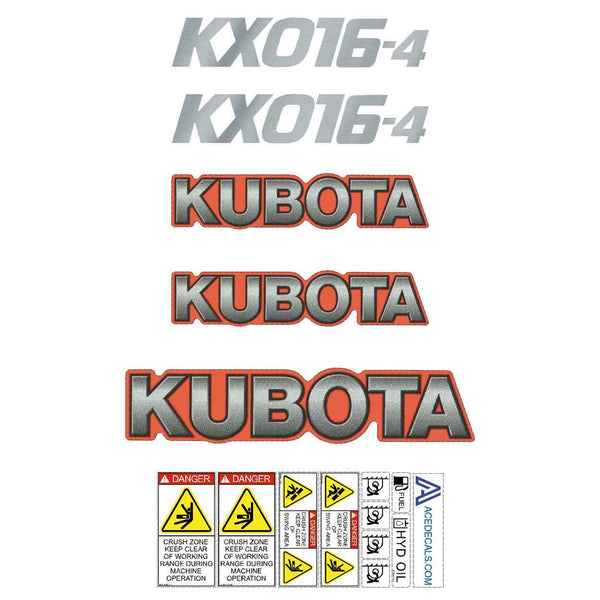 Kubota KX016-4 Decal Sticker Set