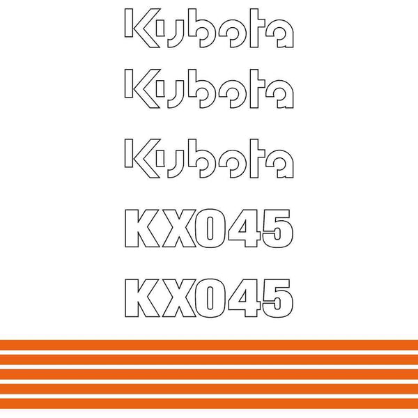 Kubota KX045 Decals Stickers