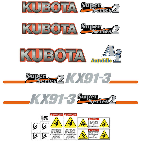 Kubota KX91-3 SS2 Decals Stickers