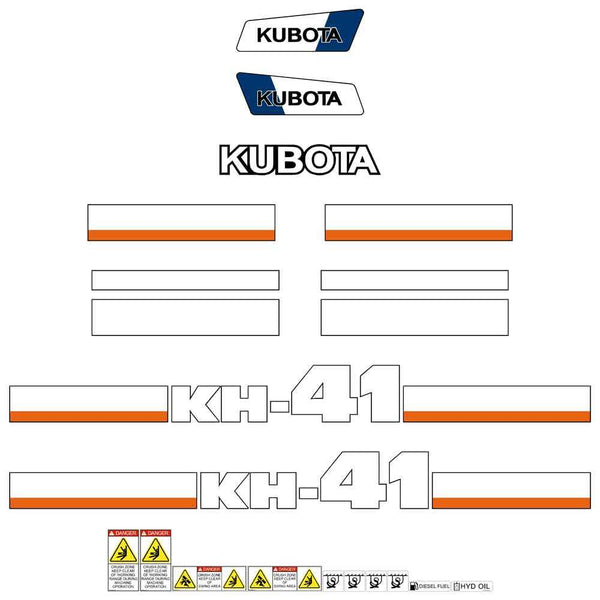 Kubota KH41 Decals Stickers