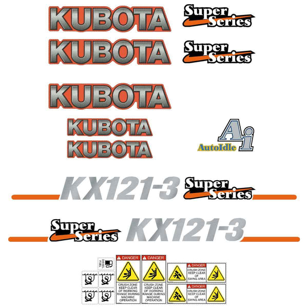 Kubota KX121-3 SS Decals Stickers Set