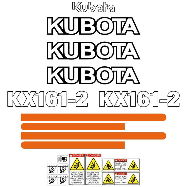 Kubota KX161-2 Decal Sticker Set