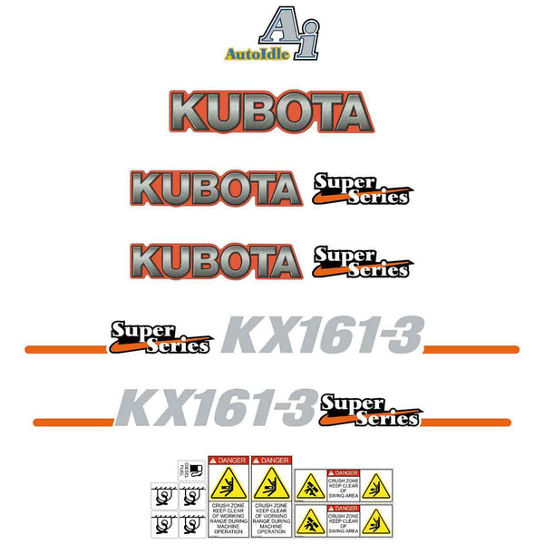 Kubota KX161-3 Super Series Decals Stickers