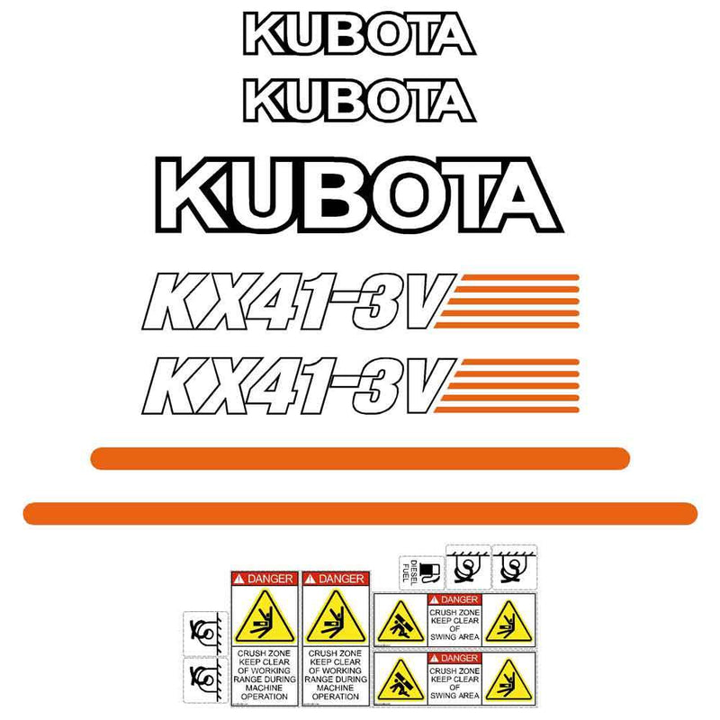 Kubota KX41-3v Decals Stickers