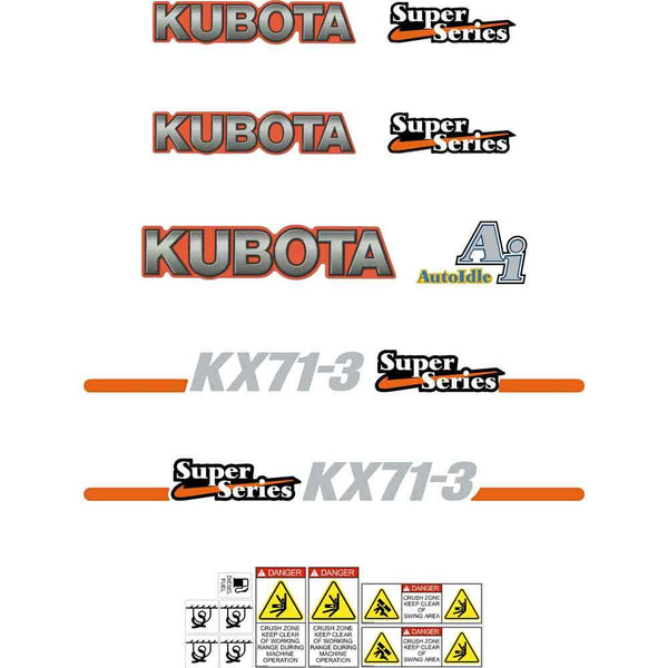 Kubota KX71-3 Super Series Decals