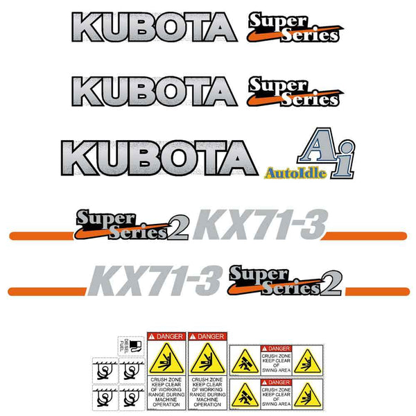 Kubota KX71-3  Decals Stickers