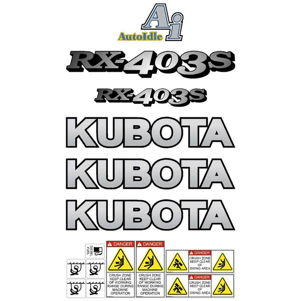 Kubota RX403S Decals Stickers