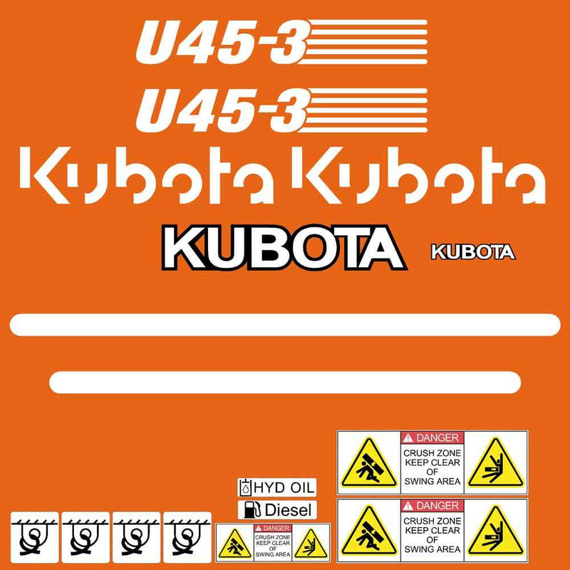 Kubota U45-3 Decal Sticker Set