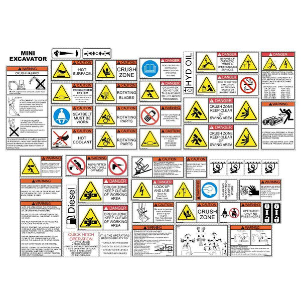 Mini Excavator Safety Decal Kit