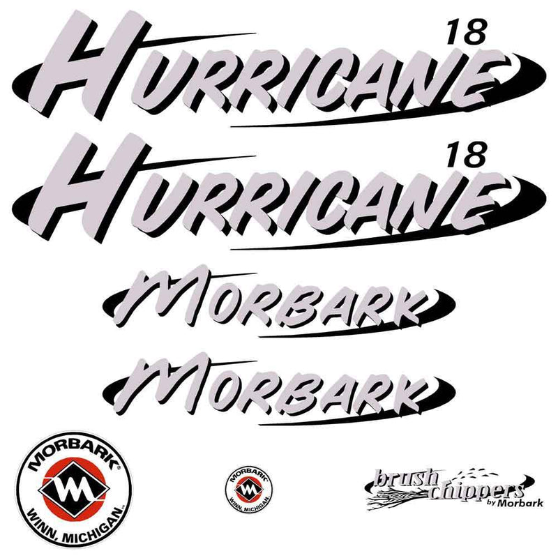 Morbark Hurricane 18 Decals Stickers