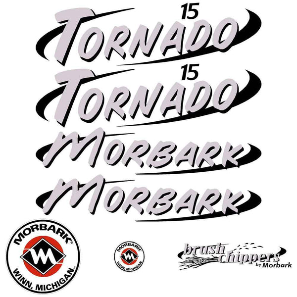 Morbark Tornado 15 Decals Stickers