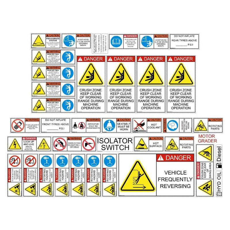 Motor Grader Safety Decals Stickers Kit