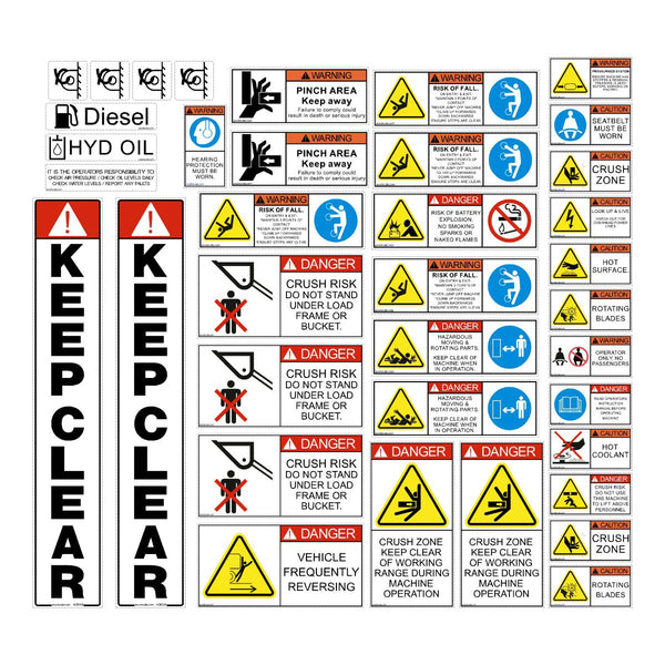 Skid Steer / CTL Safety Decal Kit