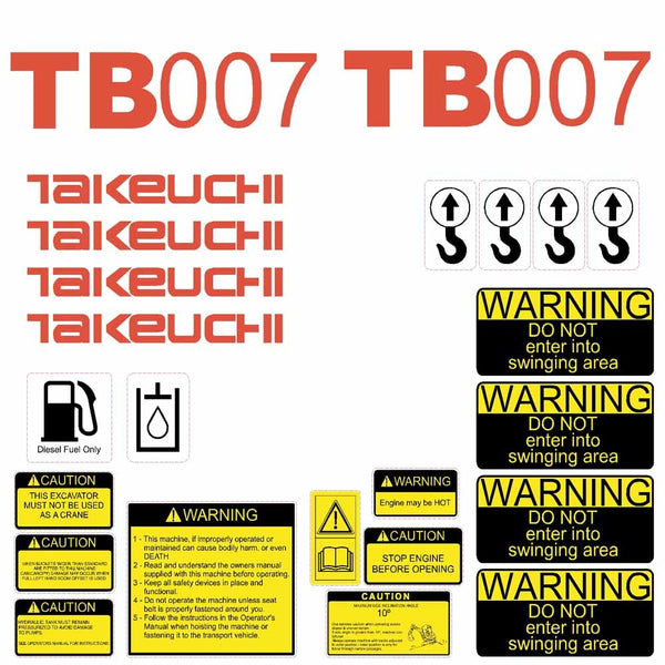 Takeuchi TB007 Decal Sticker Kit