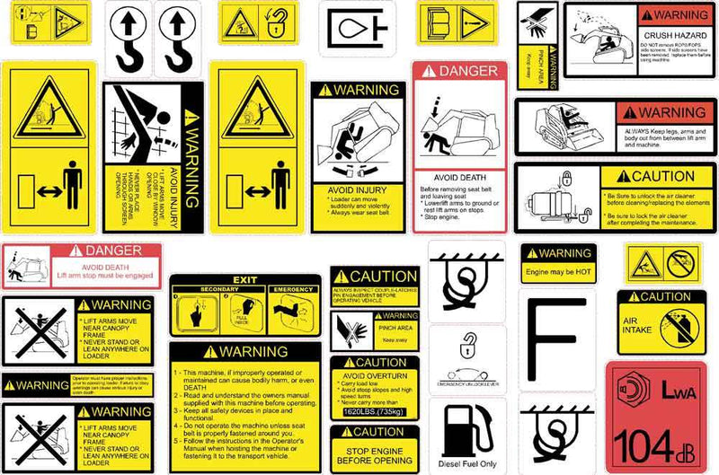 Compact Track Loader Safety Decal Kit