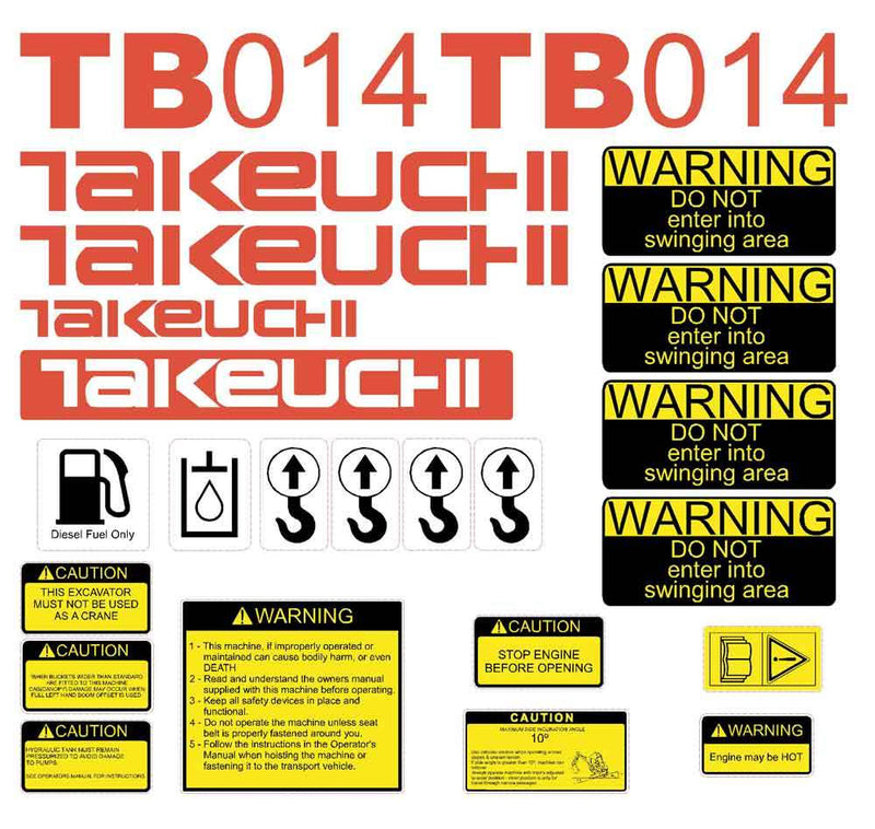 Takeuchi TB014 Decal Sticker Kit