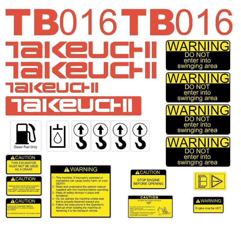 Takeuchi TB016 Decal Sticker Kit