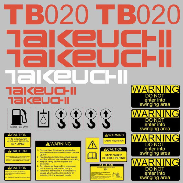 Takeuchi TB020 Decal Sticker Kit