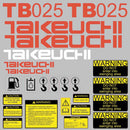 Takeuchi TB025 Decal Sticker Kit