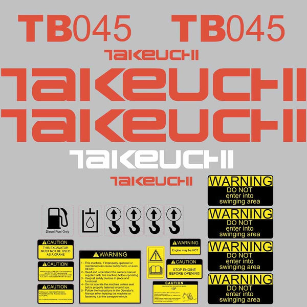 Takeuchi TB045 Decal Sticker Kit
