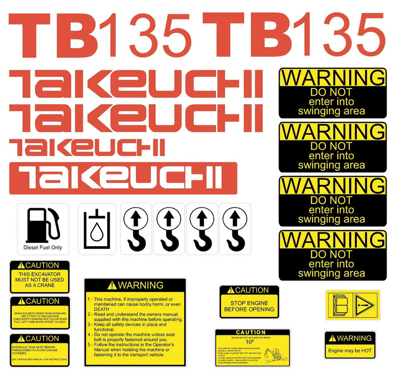 Takeuchi TB135 Decal Sticker Kit