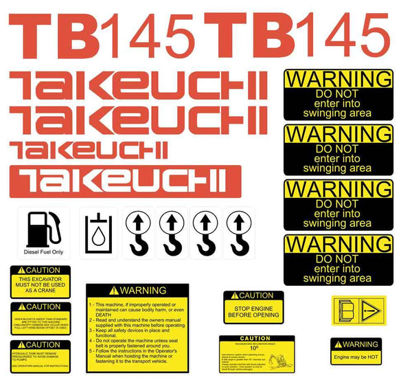 Takeuchi TB145 Decal Sticker Kit