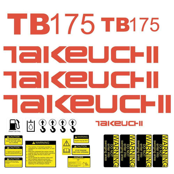 Takeuchi TB175 Decal Sticker Kit