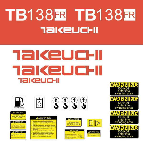 Takeuchi TB138FR Decal Sticker Kit