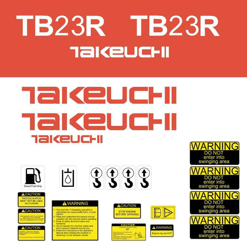 Takeuchi TB23R Decal Sticker Kit