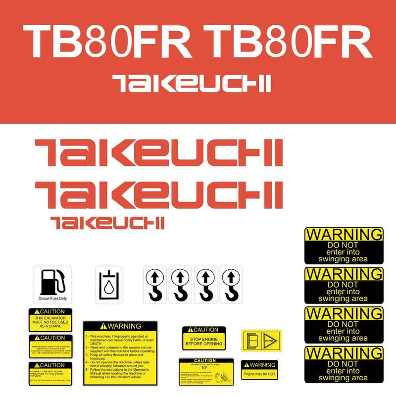 Takeuchi TB80FR Decal Sticker Kit