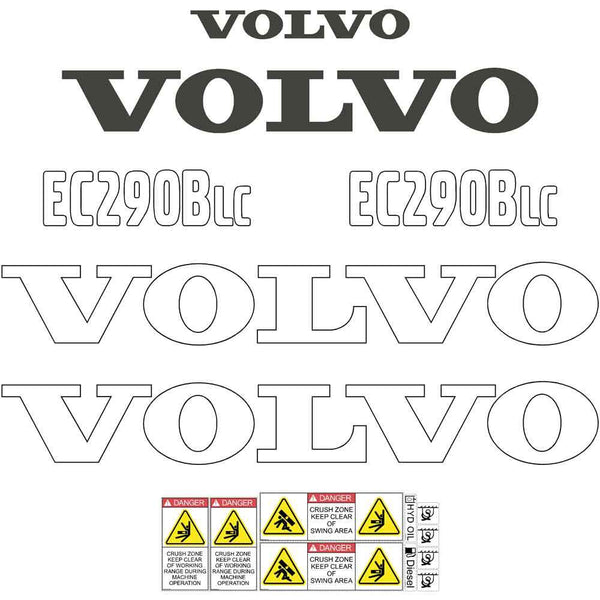 Volvo EC290B LC Decals Stickers
