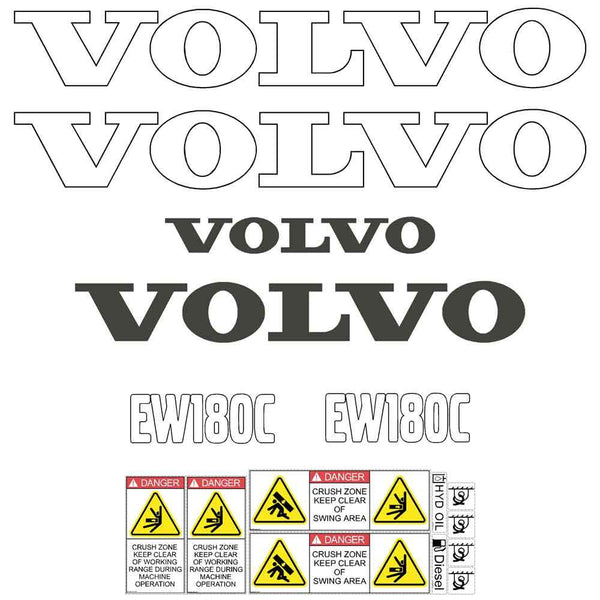 Volvo EW180C Decals Stickers