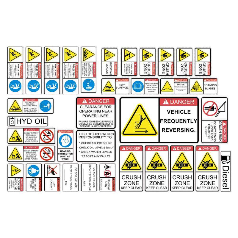 Wheel Loader Safety Decal Kit