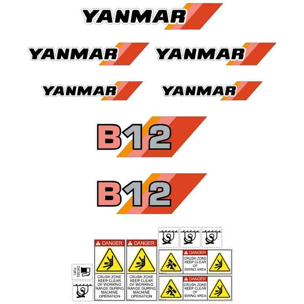 Yanmar B12 Decals Stickers Kit