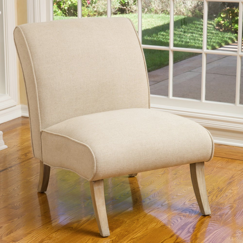 Georgette Beige Linen Slipper Chair by Christopher Knight