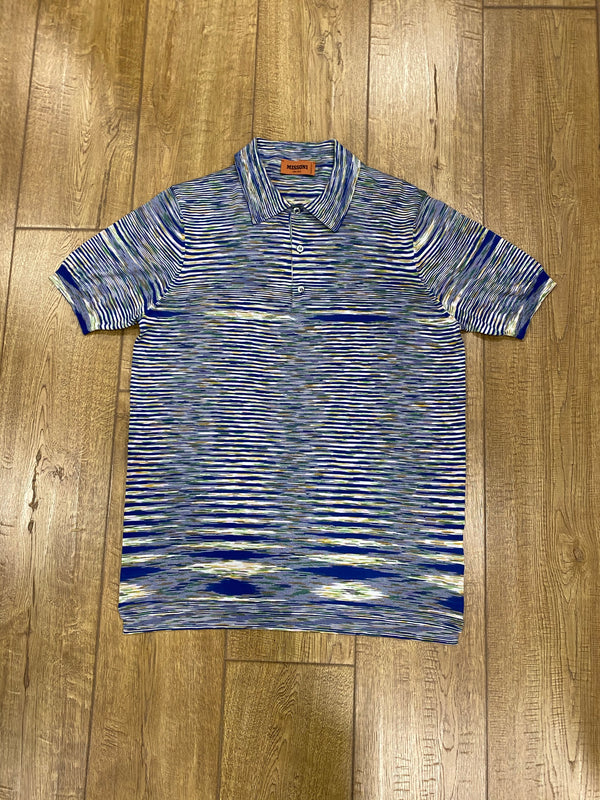 Missoni Short Sleeve Polo Shirt - Mixed Blue