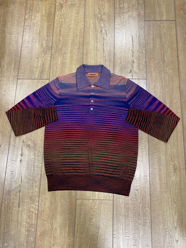 Missoni Long Sleeve Polo Shirt - Mixed Purple