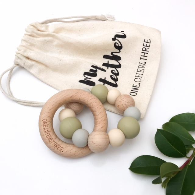 Silicone and Beach Wood Teether-Sage